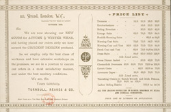 Advert for Turnbull, Reakes & Co, tailors, reverse side